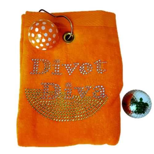 Navika Golf Towel - Orange - Divot Diva-Open Court