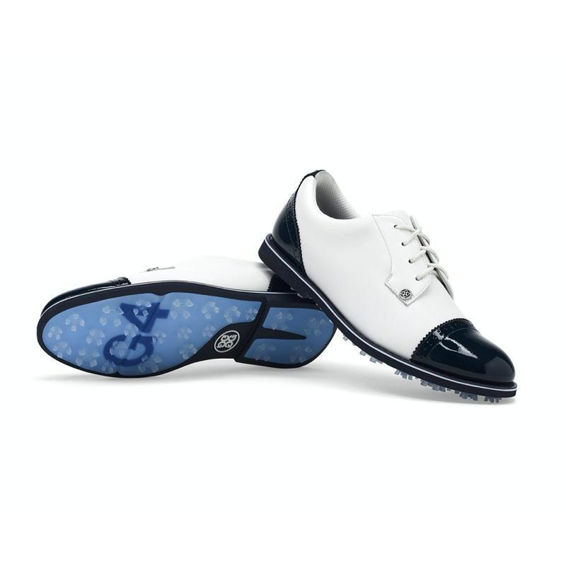 G/FORE Cap Toe Gallivanter Golf Shoe - Snow/Twilight Shoes - Open Court