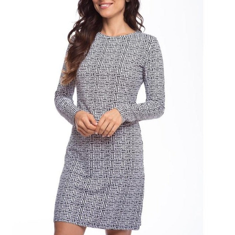 IBKUL Geo Crew Neck L/S Dress-Open Court