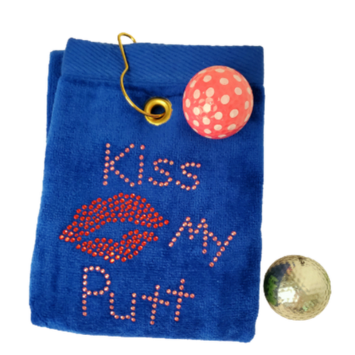 Navika Golf Towel - Blue - Kiss My Putt-Open Court