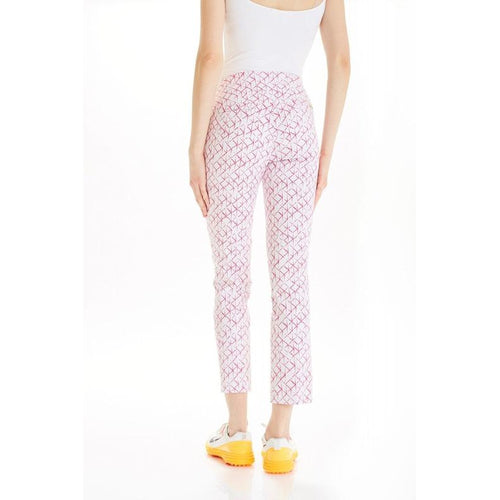 "Swing Control Masters 28"" Ankle Pant- Pink Grid-Open Court"