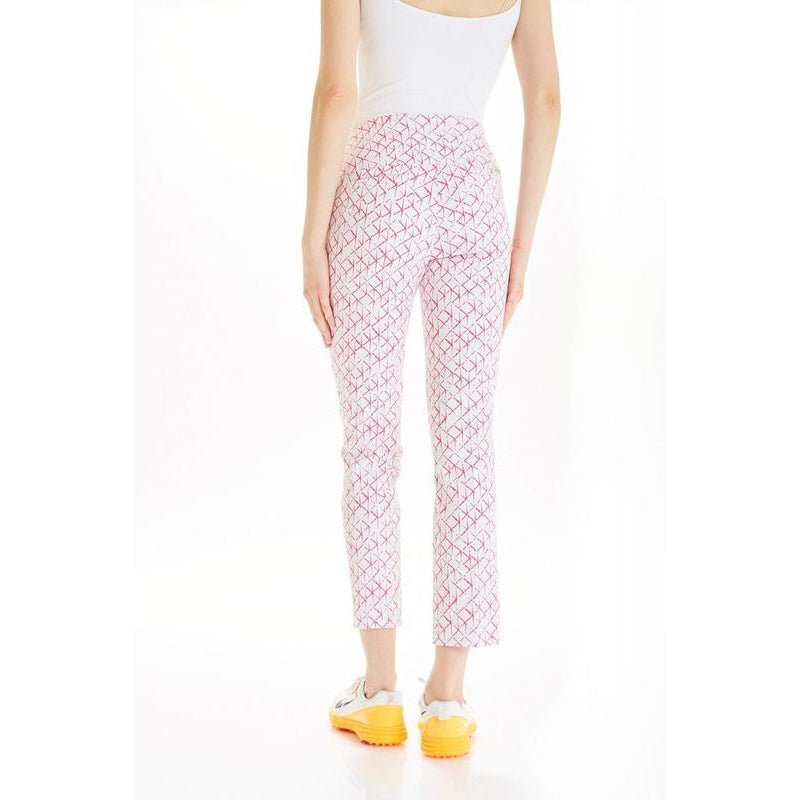 "Swing Control Masters 28"" Ankle Pant- Pink Grid Bottoms - Open Court"