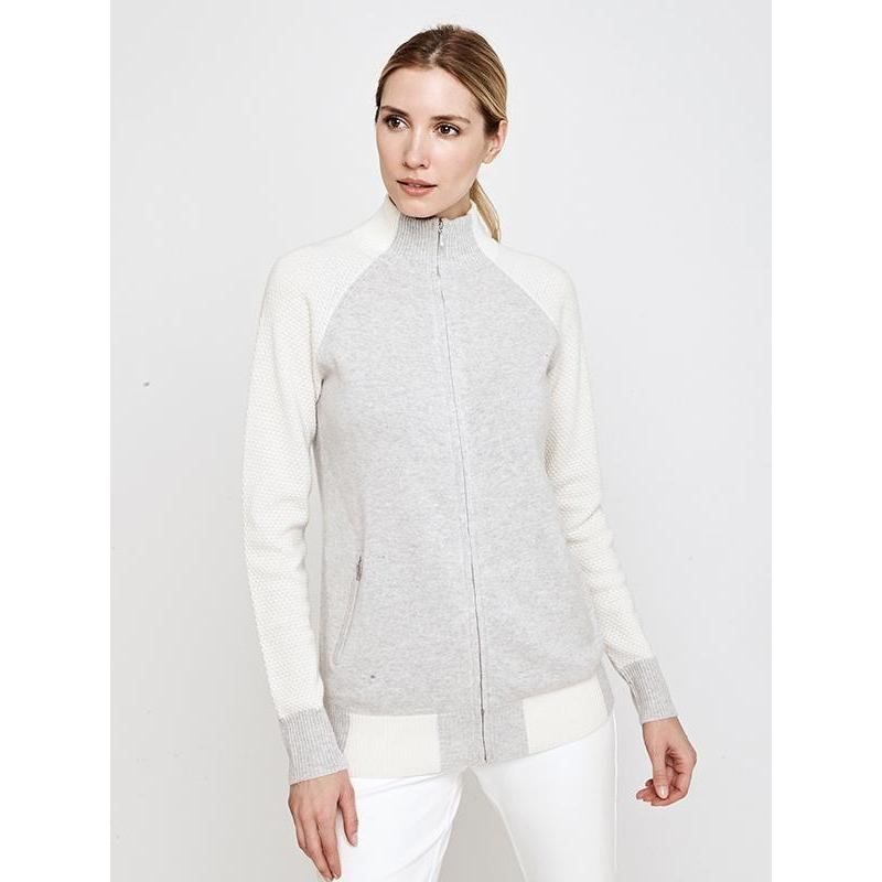 Movetes Francesca Cashmere Blend Sweater Jacket - Grey/Ivory-Open Court