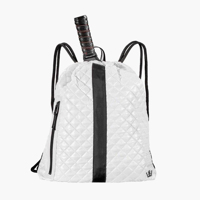 Oliver Thomas Cinch Backpack - White/Black Stripe-Open Court