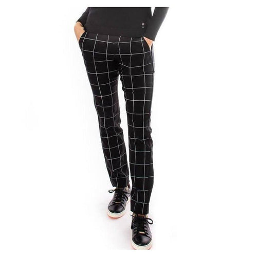 Golftini Trophy Pull-On Pant - Black/White-Open Court