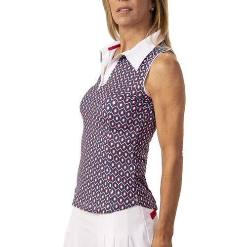 Scratch SEVENTY Erica Printed S/L Contrast Trim Polo-Open Court