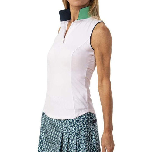 Scratch SEVENTY Annie S/L Rib Knit Collar Top - White/Navy-Open Court