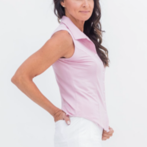 Amy Sport Laine Herringbone Blouse - Pink-Open Court