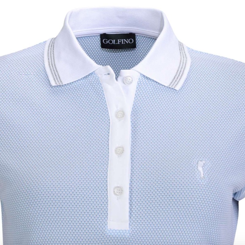 Golfino Mercedes Cap Sleeve Polo - Blue Bay Tops - Open Court