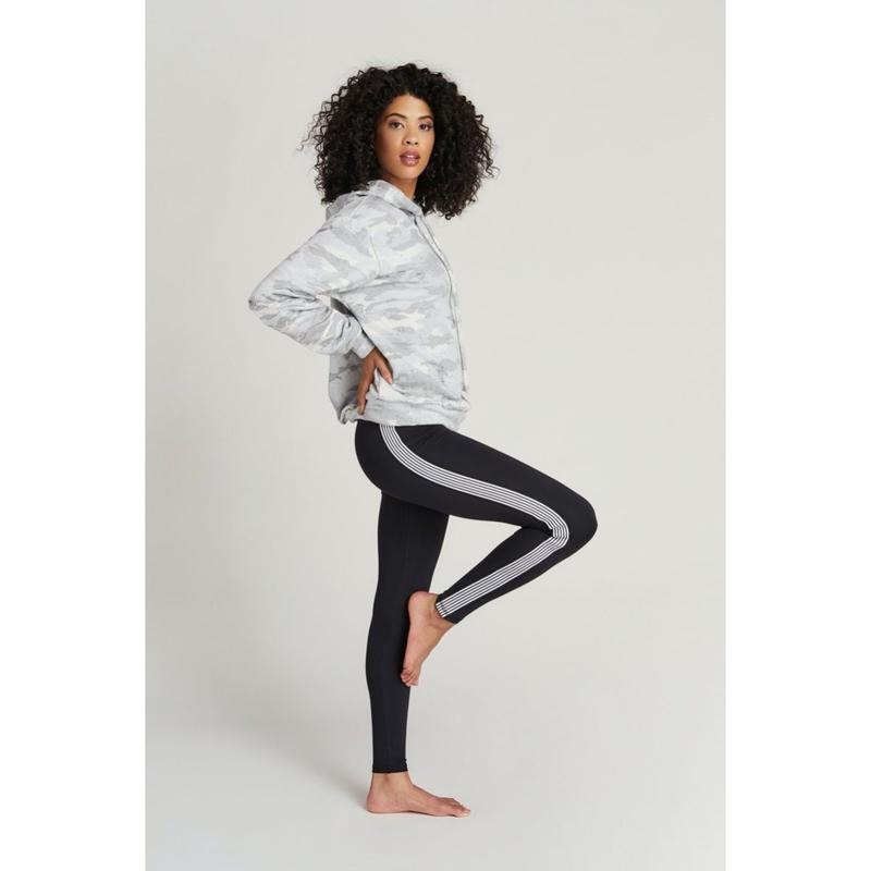 Strut This Sage Striped Side Ankle Legging-Open Court