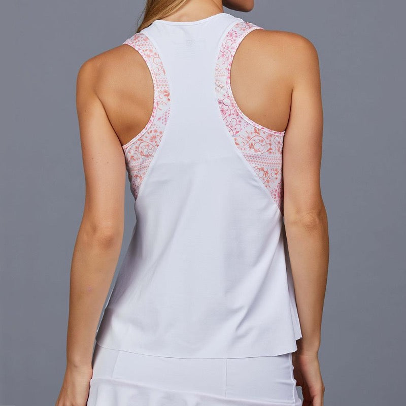 Denise Cronwall Valencia Tank Top Crew - White/Coral-Open Court
