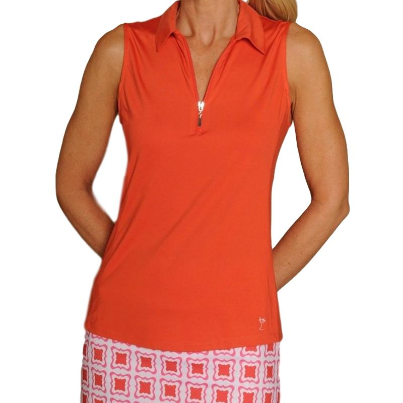 Golftini S/L Zip Tech Polo - Orange Tops - Open Court