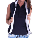Golftini Reversible Wind Vest - Navy/White-Open Court