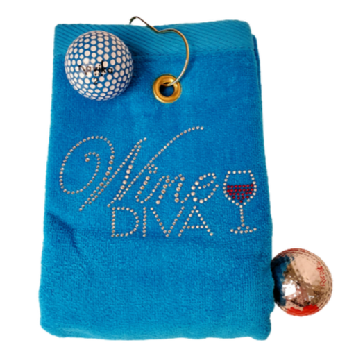 Navika Golf Towel - Blue - Wine Diva-Open Court