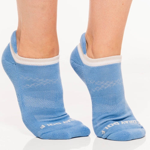 Foray Golf 3-Pack No Show Ankle Sock - White/Grey/Blue-Open Court