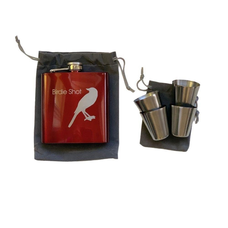 Birdie Juice Flask w/4 Shot Glasses - Red-Open Court