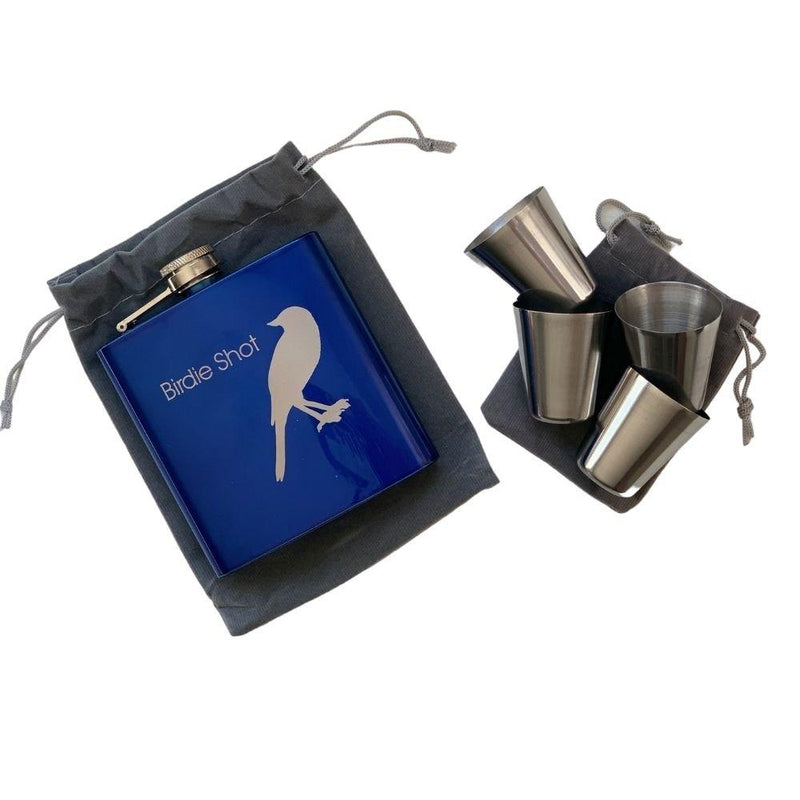Birdie Juice Flask w/4 Shot Glasses - Blue-Open Court