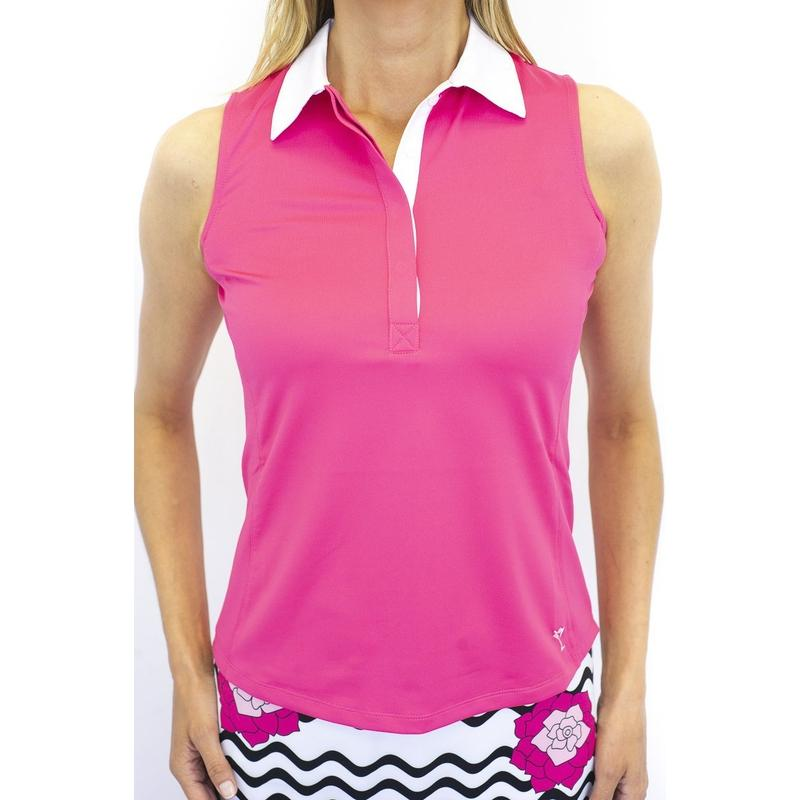 Golftini S/L Contrast Polo - Pink/White-Open Court