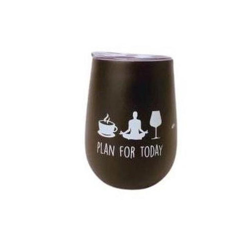 Wine Tumbler - Plan For Today (Black)-Open Court