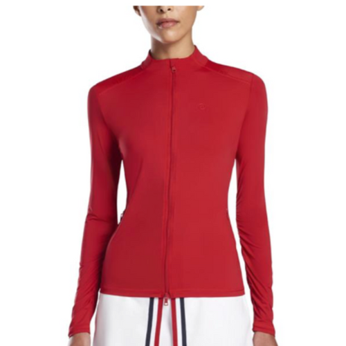 G/FORE Featherweight Full Zip L/S Top - Cherry-Open Court