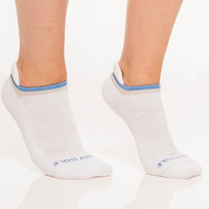 Foray Golf 3-Pack No Show Ankle Sock - White/Grey/Blue Accessories - Open Court