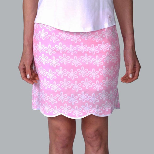 Golftini Flower Power Cotton Scalloped Skort Long Bottoms - Open Court