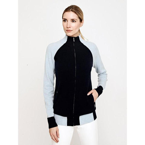 Movetes Francesca Full Zip Cashmere Blend Sweater Jacket-Open Court