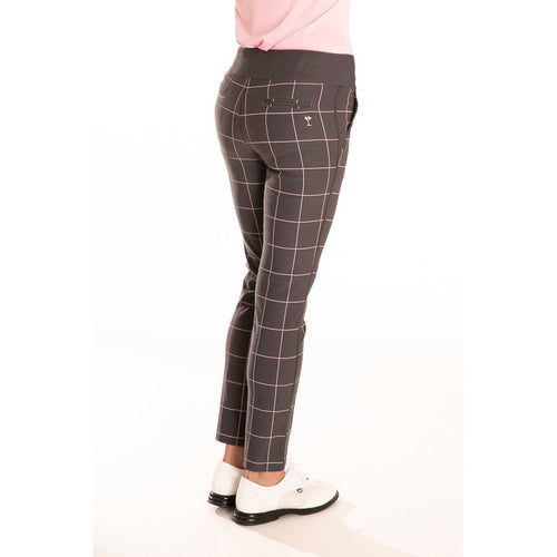 Golftini Trophy Pull-On Pant - Grey/Light Pink Bottoms - Open Court
