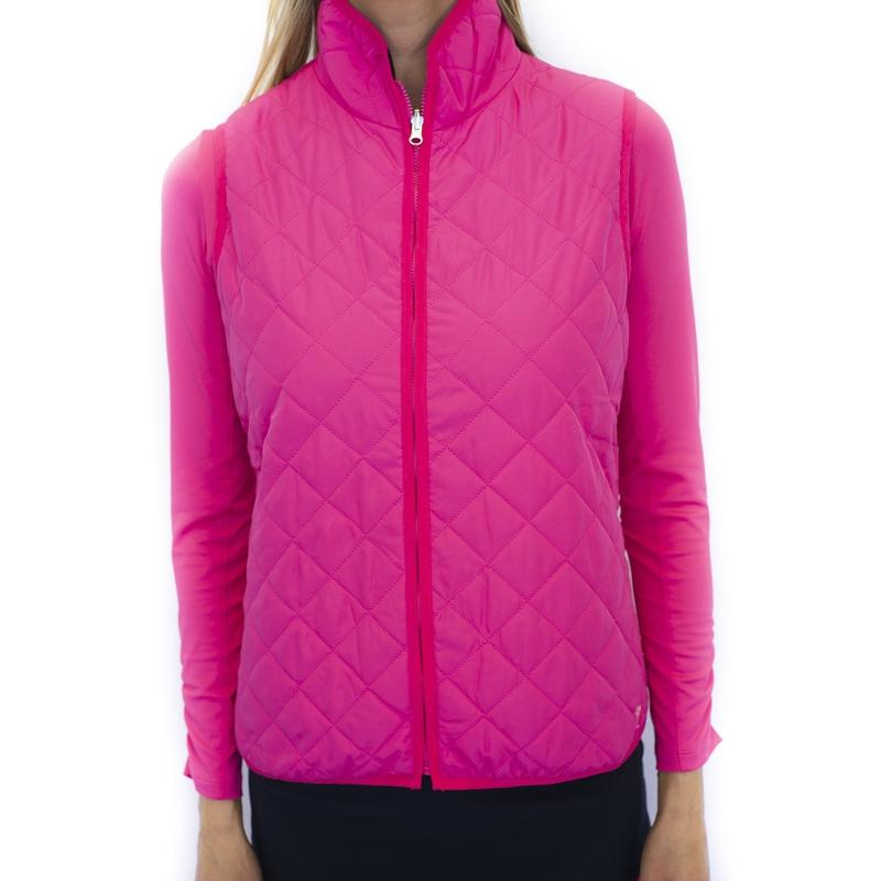 Golftini Quilted Vest - Hot Pink-Open Court