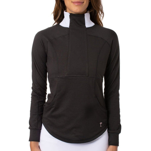 Golftini Contrast Quarter Zip - Black/White-Open Court