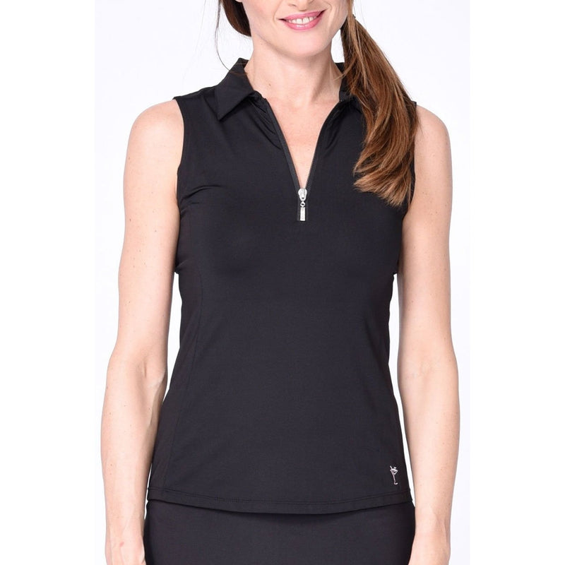 Golftini S/L Zip Tech Polo - Black Tops - Open Court