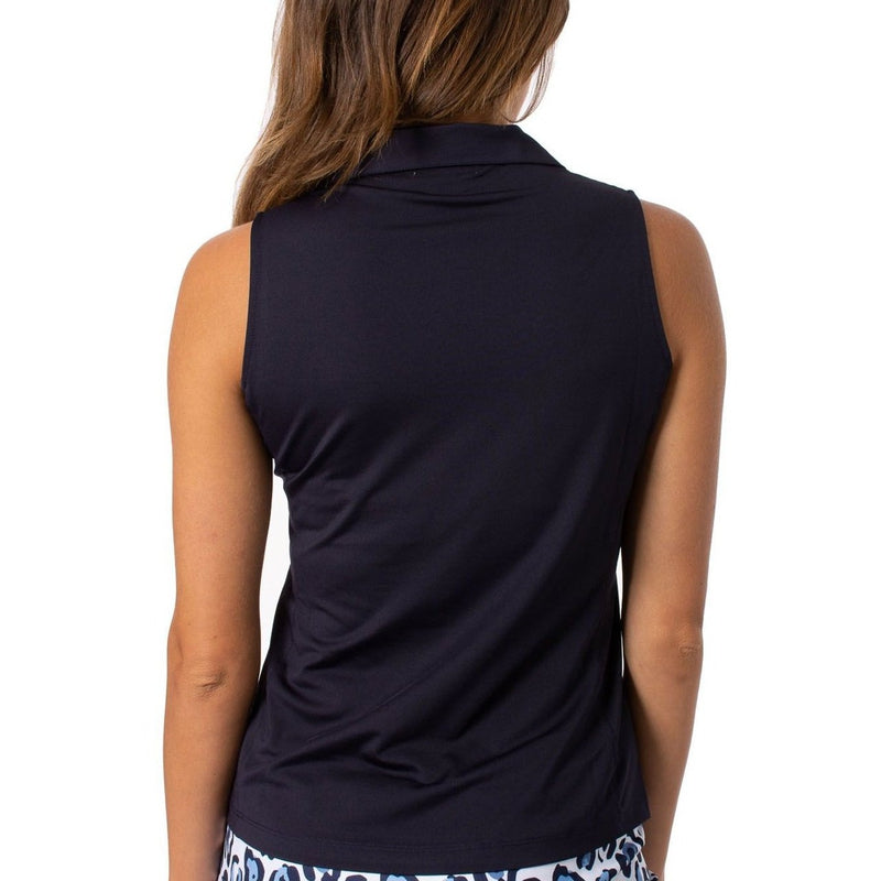 Golftini S/L Zip Tech Polo - Navy Tops - Open Court