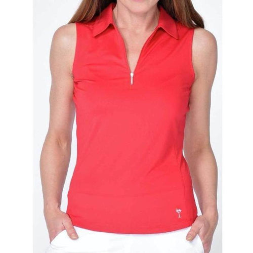 Golftini Zip Tech S/L Polo Red-Open Court