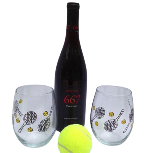 Tennis Stemless Wine Glasses-Open Court