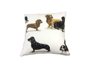 back side of large pillow shows wiener dog Dachshunds in different poses