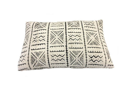 front of white cotton mali cloth pillow cover with black tribal printing designs