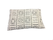 back of white cotton mali cloth pillow cover with black tribal printing designs