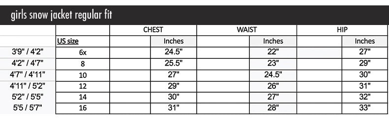 girls sizing chart