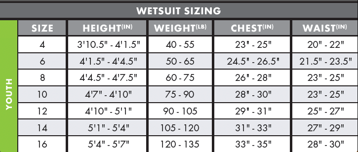 youth sizing chart