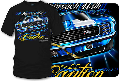 Camaro gear - Approach with Caution - 1969 Camaro Z28 camaro tee shirt - Wicked Metal