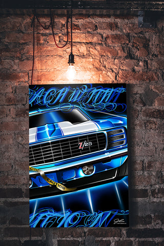 Image of Camaro Caution wall art - garage art