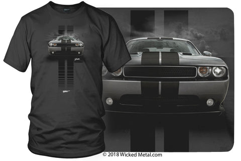 Dodge Challenger Stripes- Muscle Car T-Shirt - Challenger t-Shirt - $19.99 - Wicked Metal
