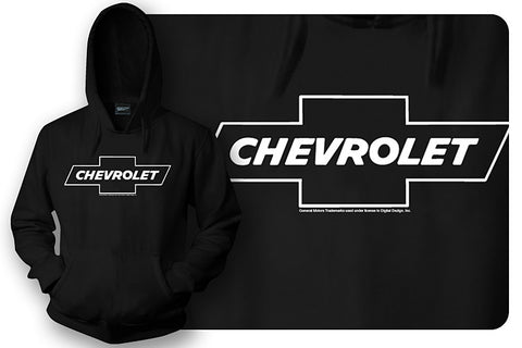 Chevy Bowtie t shirt logo  - Black Hoodie - Wicked Metal