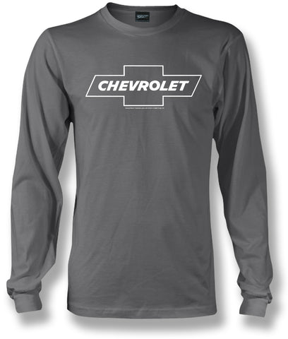 Chevy Bowtie LS t shirt logo  - Grey Long Sleeve shirt- $25.95 - Wicked Metal