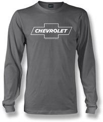Chevy Bowtie LS t shirt logo  - Grey Long Sleeve shirt- $25.95
