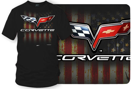 Corvette c6 logo - American Flag C6 logo shirt - Wicked Metal