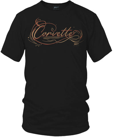 Corvette Pinstriped Script lettering - Corvette Script logo shirt - Wicked Metal
