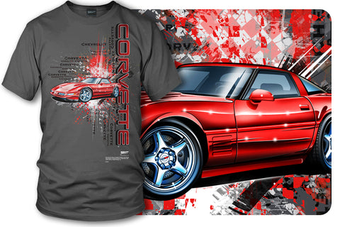 Image of Corvette shirt - Burst - C4, Corvette ZR-1, Corvette shirt - Wicked Metal