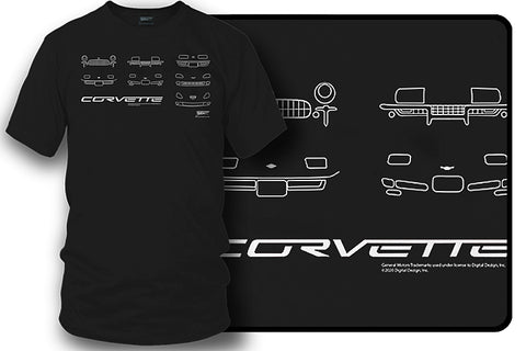 Image of Corvette fronts t Shirt - C1-C6 Style - All Corvettes shirt