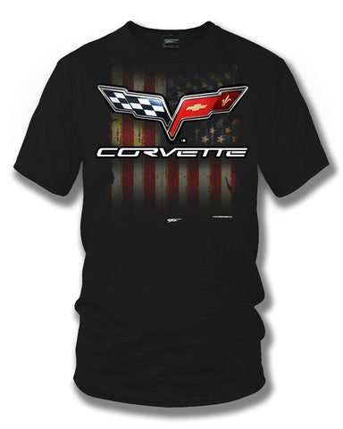 Image of Corvette c6 logo - American Flag C6 logo shirt - Wicked Metal